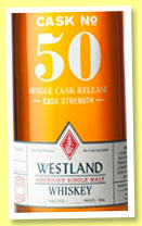 Westland 3 yo 2011/2015 (55 %, OB, USA, single malt, Heavy char new American oak, cask #50, 173 bottles, 2015)