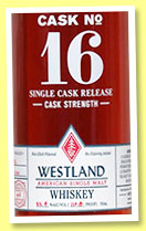 Westland 4 yo 2011/2015 (55.4%, OB, USA, single malt, Hungarian oak Port cask, cask #16, 246 bottles, 2015)