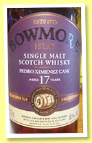 Bowmore 17 yo 'Hand Bottled' (56.1%, OB, Feis Ile, PX cask matured, 2016)