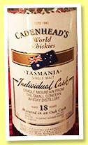Cradle Mountain 18 yo (52.9%, Cadenhead, World Whiskies, Tasmania, cabernet sauvignon hogshead, 132 bottles, 2015)