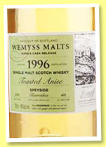 Glenrothes 1996/2015 'Toasted Anise' (46%, Wemyss Malts, hogshead, 401 bottles)
