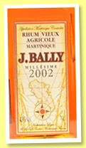J. Bally 2002 (43%, OB, Martinique, agricole, +/-2013)