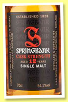 Springbank 12 yo 'Cask Strength' (54.1%, OB, batch #12, 2016)