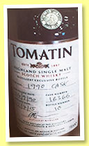 Tomatin 1990/2015 (54.4%, OB, distillery exclusive, bourbon, cask #16366)