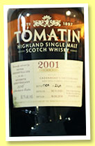 Tomatin 2001/2016 (56.1%, OB for Cadenhead's Switzerland, 7th anniversary, finished four years in PX, cask #34876)