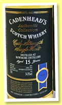 Bowmore 15 yo 2001/2016 (54.8%, Cadenhead, Authentic Collection, bourbon hogshead, 264 bottles)
