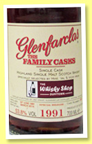 Glenfarclas 1991/2014 'Family Casks' (53.8%, OB, for The Whisky Shop Dufftown, sherry, cask #5691)