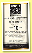 Ledaig 10 yo 2005/2015 (56.7%, Single Cask Nation, refill bourbon barrel, cask #10, 235 bottles)
