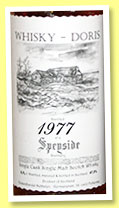 Speyside 1977/2015 (47%, Whisky-Doris, dark sherry, cask #25, 577 bottles)