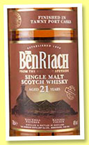 Benriach 21 yo 'Tawny Port' (46%, OB, +/-2016)