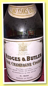 Fine Champagne 50 yo (70% proof, Hedges & Butler, 1960s)