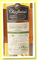 Ardbeg 20 yo 1996/2016 (46%, Chieftain's, bourbon barrels, casks #808+811, 601 bottles)