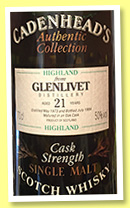Glenlivet 21 yo 1973/1994 (50%, Cadenhead, Authentic Collection)