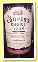 Springbank 18 yo 1998/2016 (46%, The Cooper's Choice, refill sherry, cask #116, 300 bottles)