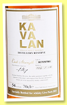 Kavalan 2007/2015 'Distillery Reserve' (54%, OB, Taiwan, for Whisky Live Paris 2015, peaty cask, cask #R070507001, 114 bottles)