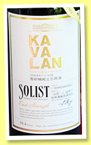 Kavalan 2009/2016 'Solist' (59.4%, OB, Taiwan, for Sherry Whiskies Fans Soc., sherry cask, cask #S090306015, 519 bottles)