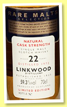 Linkwood 22 yo 1972 (54.3%, OB, Rare Malts, +/-1995)