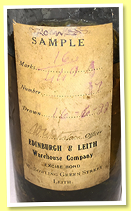Stromness cask sample (Cask #17, Edinburgh & Leith Warehouse Company, drawn June 16, 1922)