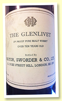 Glenlivet 'Pure Malt Over 10 Years Old' (75 proof, Sworder & Co Ltd, -/+ 1970)
