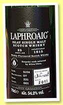 Laphroaig 25 yo (54.2%, OB, selected by Allen Chen, cask #5124, 2017)