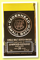 Linkwood-Glenlivet 20 yo 1997/2018 (53.7%, Cadenhead, Small Batch, bourbon hogshead, 498 bottles)