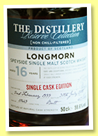 Longmorn 16 yo 1999/2015 (59.6%, OB, The Distillery Reserve Collection, butt, cask #10449, 816 bottles)