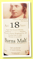 Springbank 18 yo 1996/2014 (56.3%, The Whisky Barrel, Burns Malt, sherry hogshead, cask #491)