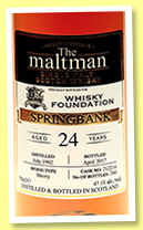 Springbank 24 yo 1992/2017 (47.1%, The Maltman for The Whisky Foundation, sherry cask, cask #212214, 244 bottles)