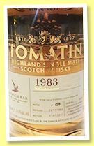 Tomatin 1983/2017 (44.6%, OB for Quaich Bar Singapore, hogshead, cask #14192, 158 bottles)