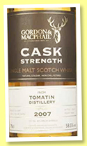 Tomatin 2007/2017 (58.5%, Gordon & MacPhail, Cask Strength, casks # casks 4920, 4921, 4922)