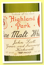 Highland Park (98°proof, John Scott, pure malt, +/-1950)