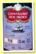 South Pacific 13 yo 2004/2018 (44%, Compagnie des Indes, Fiji, cask #FSP7, 330 bottles)