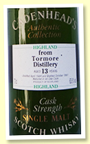 Tormore 13 yo 1984/1997 (63.8%, Cadenhead Authentic Collection)