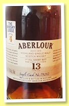 Aberlour 13 yo (57.7%, OB for The Whisky Lodge, 1st fill sherry, cask #79212, 618 bottles)