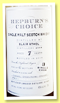 Blair Athol 7 yo 2009/2016 (46%, Hunter Laing, Hepburn's Choice, 413 bottles)