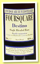 Foursquare 14 yo 2003/2017 'Destino' (61%, OB, Barbados, 2610 bottles)