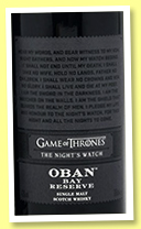 Oban Bay Reserve 'Game Of Thrones The Night's Watch' (43%, OB, 2018)
