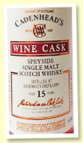 Benrinnes 15 yo 2004/2019 (54.8%, Cadenhead, Chilean red wine cask, 252 bottles)
