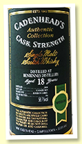Benrinnes 18 yo 2000/2019 (58.7%, Cadenhead Authentic Collection, bourbon barrel, 186 bottles)