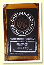 Benrinnes 18 yo 2000/2019 (55.7%, Cadenhead Small Batch, 4 bourbon barrels, 618 bottles)