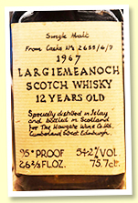 Bowmore 'Largiemeanoch' 12 yo 1967/1079 (54.2%, Howgate Wine Co, casks #2655/6/7, sherry)