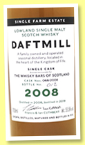 Daftmill 11 yo 2008/2019 (55.5%, OB, for The Whisky Bars of Scotland, bourbon, cask # 068/2008)