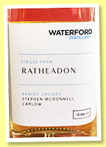 Waterford 3 yo 2016/2019 'Ratheadon' (50%, OB, Irish, sample bottle)