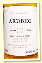 Ardbeg 10 yo 1978/1988 (57.8%, The Syndicate, 240 bottles)