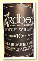 Ardbeg 10 yo (70 proof, OB, bottled circa 1976)