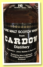 Cardow 16 yo 1962/1979 (80°proof, Cadenhead, black dumpy)