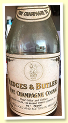 Fine Champagne 50 yo (70 proof, Hedges & Butler, 1960s)