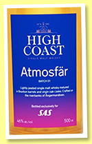 High Coast 5 yo 'Atmosfär' (46%, OB, for SAS, Sweden, bourbon, 2148 bottles, 2020)