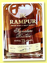 Rampur 'Signature Reserve' (43.9%, OB, India, decanter, cask #1292, 150 bottles, 2019)