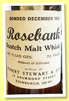 Rosebank 1938 (70°proof, Robert Stewart & Son, 26 2/3 Fl. Ozs, 1960s)